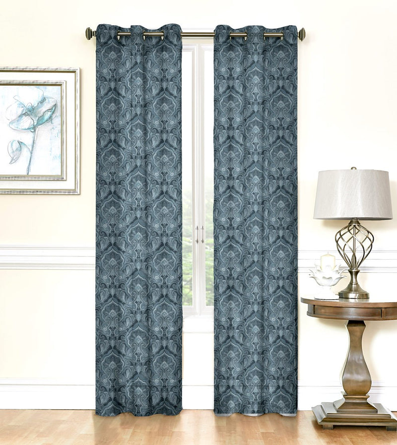 Maya Damask 2-pack Printed Sheer With 6 Grommets Panel, Blue, 76x84