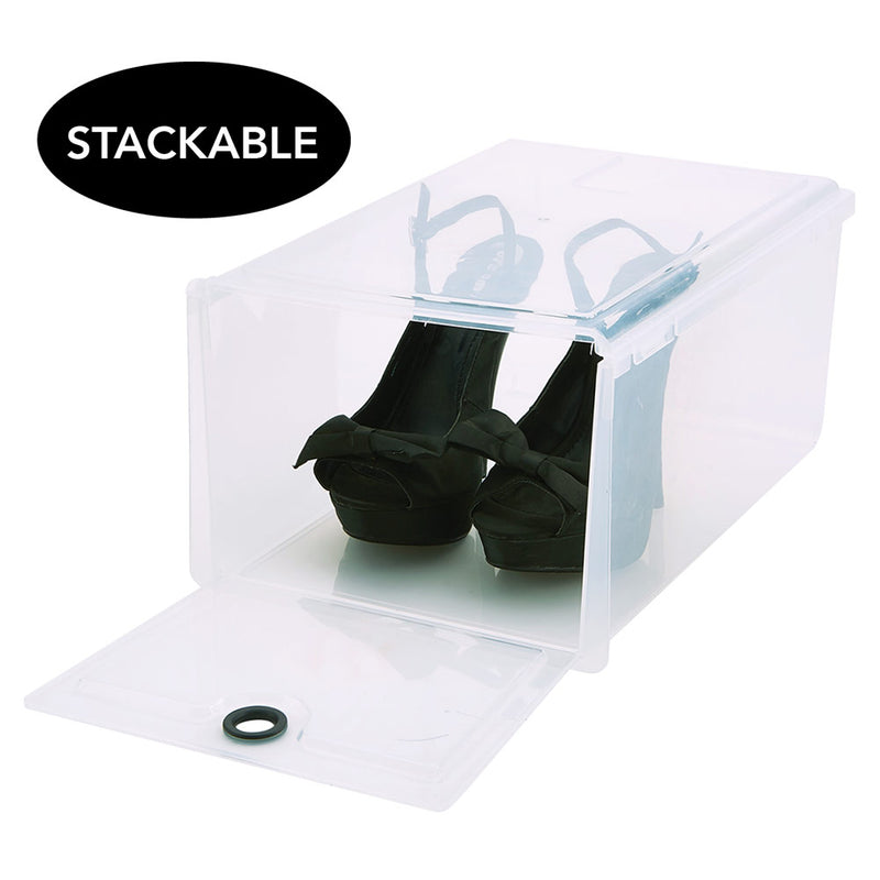 Simplify Stackable Plastic Shoebox, Clear, 10x15x9 Inches