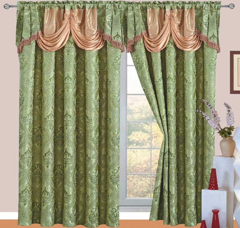 Ronite Jacquard Rod Pocket Panel With Attached Valance And Backing, Sage, 55x84+18