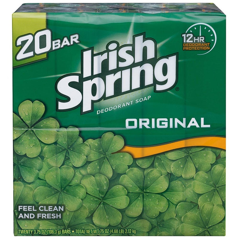 Irish Spring Deodorant Bar Soap Original 3.75 Ounces, 20-Pack