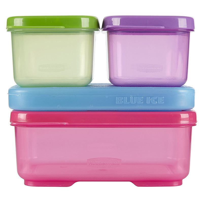 Rubbermaid 4-piece Snap And Stack Lunch Blox Kit With Ice, Multi, 5.25x5x4.5 Inches