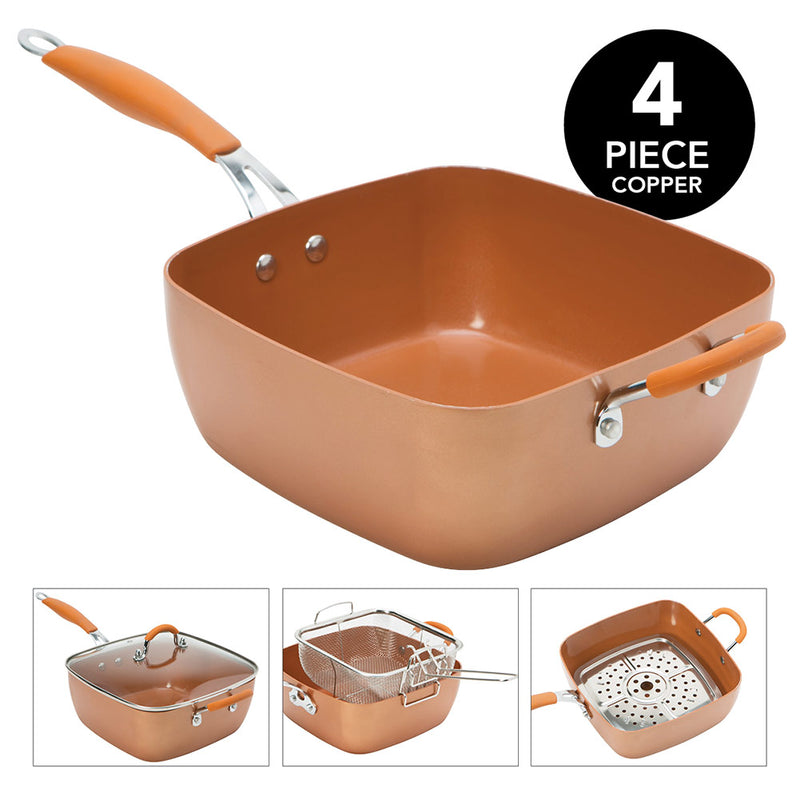 Kitchen Details Non-Stick Copper Glider 4-Piece Deep Frying Cookware Set, 9.4x9.4x2.5 Inches