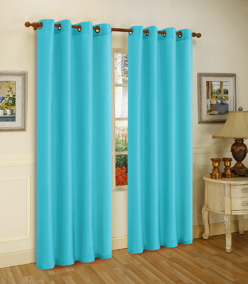 Melanie Faux Silk Panel With 8 Grommets, Aqua Blue, 55x63