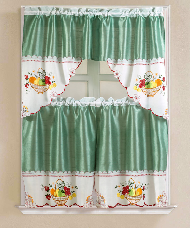 Vintage Fruit Medley Embroidered Kitchen Curtain Set, Green, Tier 30x36, Valance 60x36 Inches