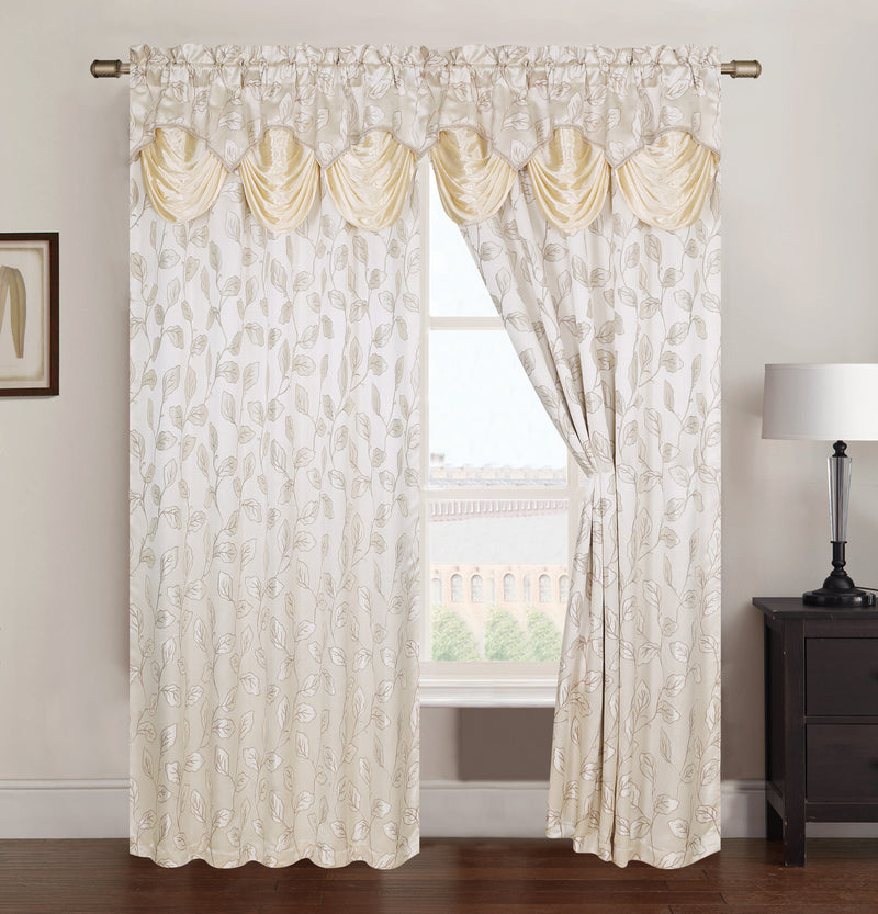 Brenda Jacquard Rod Pocket Panel With Attached Valance, Beige, 54x84 Inches