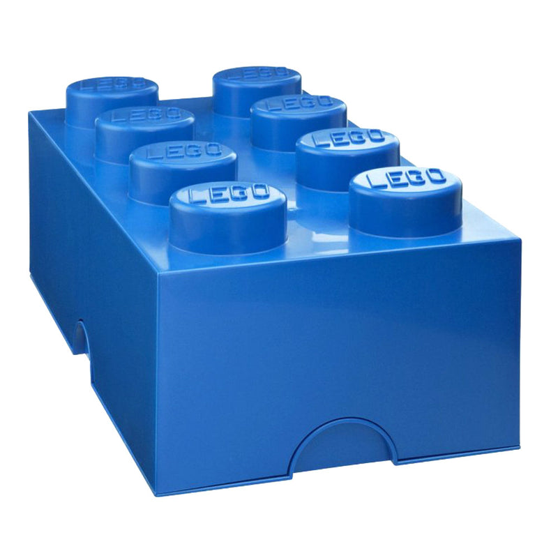 Lego 8-knob Storage Brick, Blue, 9.8x19.7x7.1