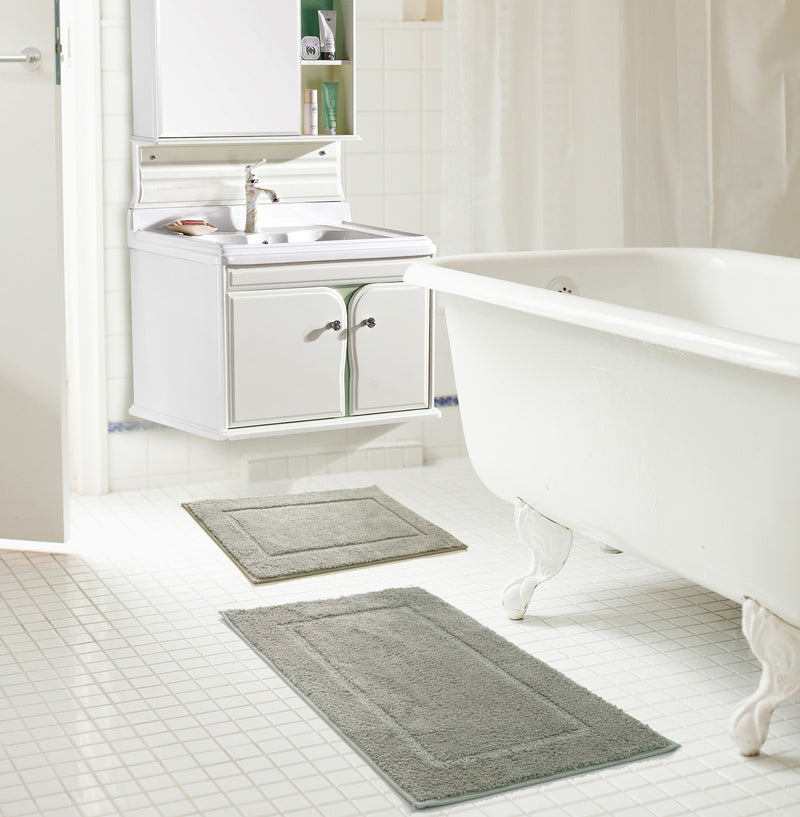 Derby 2-Piece Microfiber Bath Mat Set, Silver, 17x24 and 20x30 Inches
