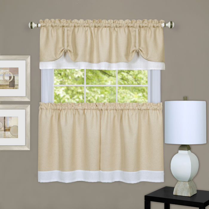 Darcy 3-Piece Kitchen Curtain Valance & Tiers set, Tan-White, 58x14 & 58x36