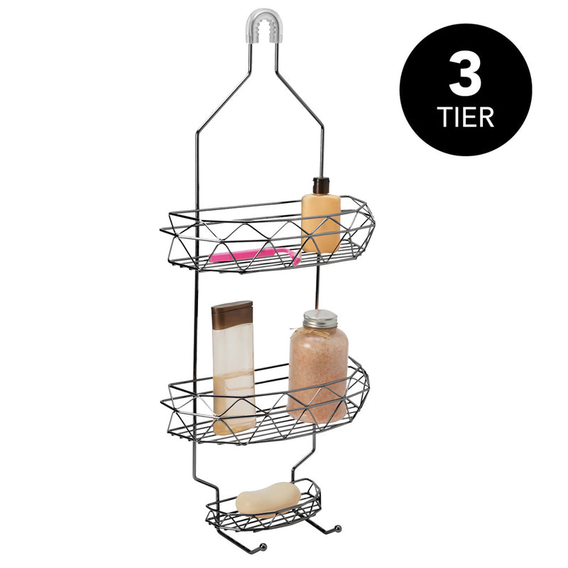 Bath Bliss 3-Tier Geometric Collection Shower Caddy, Black-Onyx, 12x26.4 x4 Inches