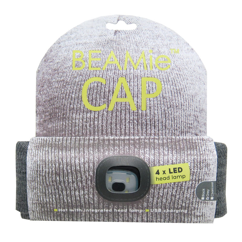 Beamie Hat With Built-in Rechargeable Led Head Lights, Grey