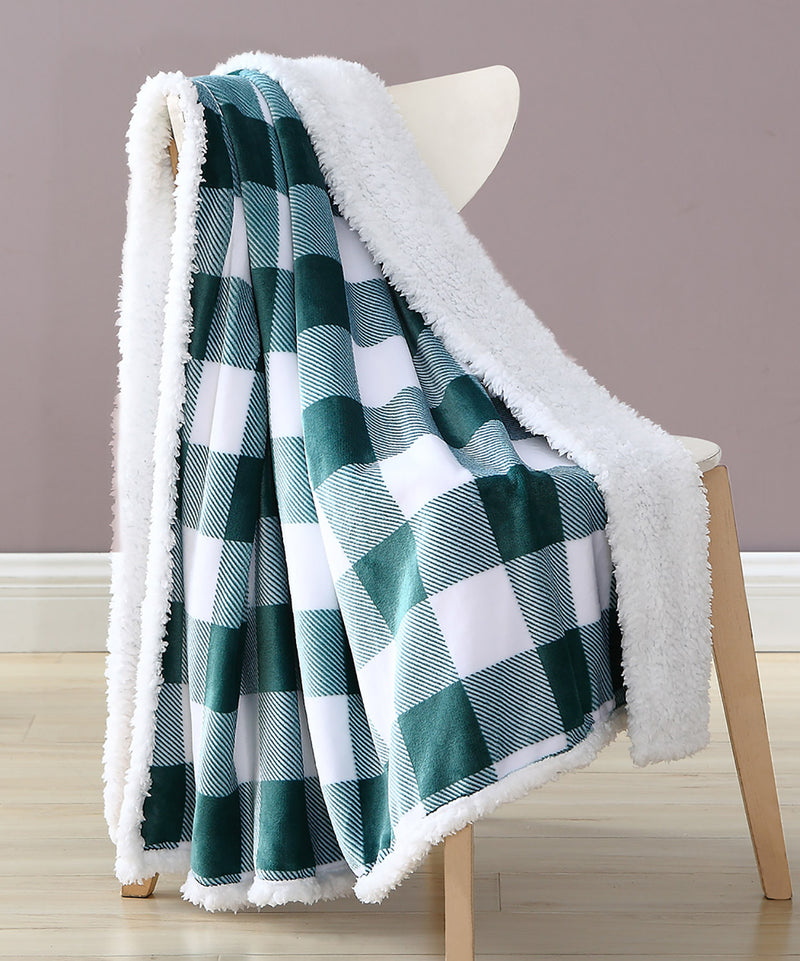 Buffalo Check Flannel-Sherpa Throw Blanket, Hunter Green, 50x60 Inches