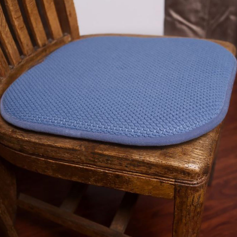 Honeycomb Memory Foam Non-slip 2-piece Chair Pad Set, Blue, 17x16 Inches