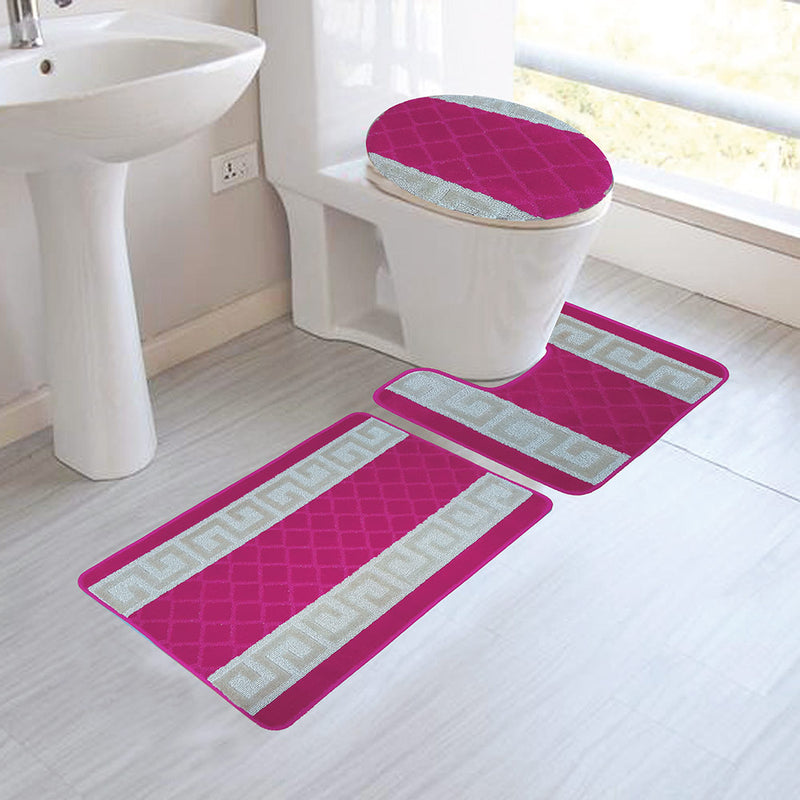 Nicole 3-Piece Mega Bath Mat Set, Greek Key Design, Rose