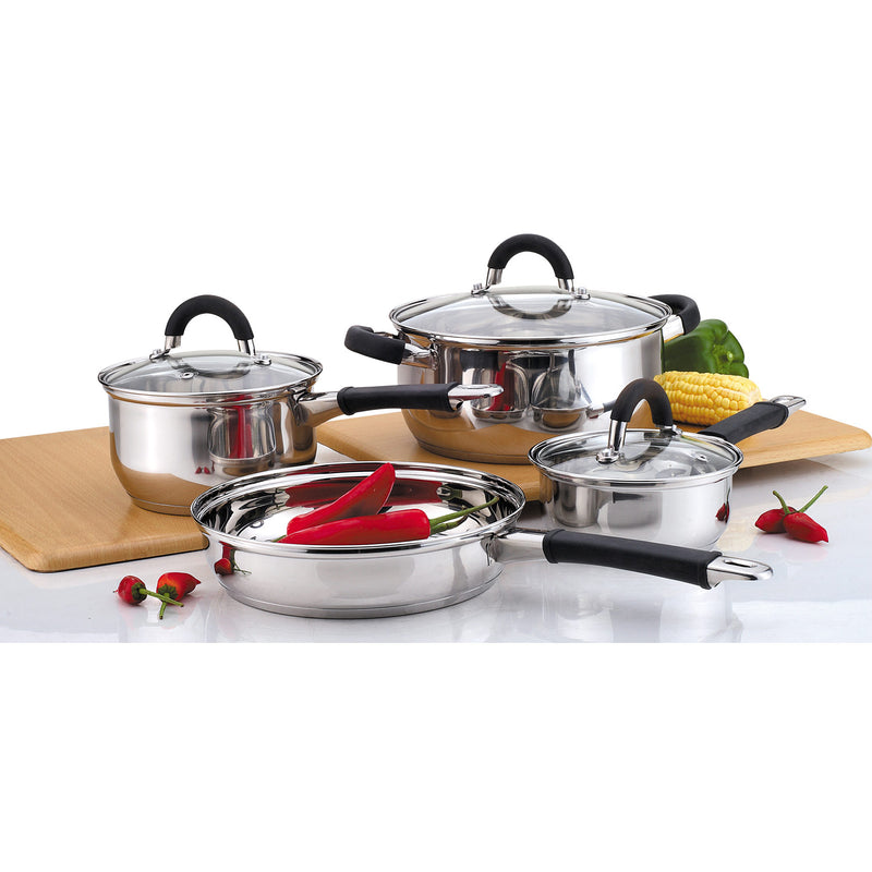 Gourmet Edge 7 Piece Stainless Steel Cookware Set with Glass Lids and Rubber Handles