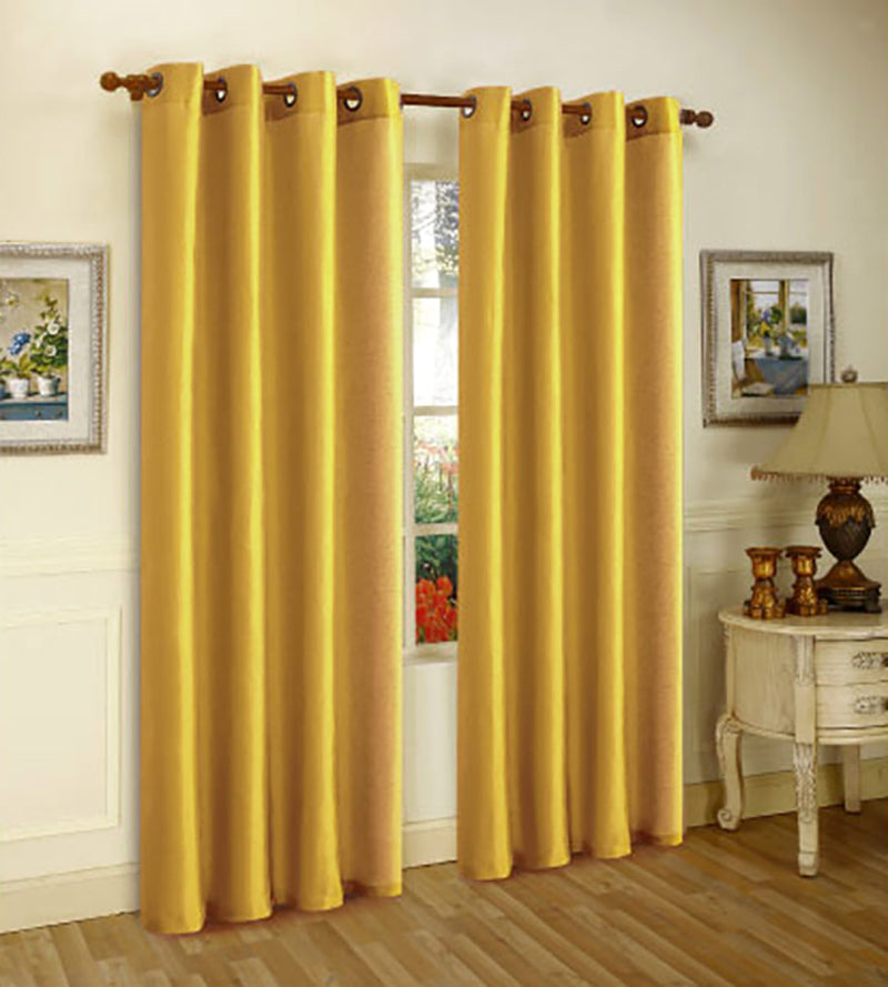 Melanie Faux Silk Grommet Window Panel, Mustrad-Yellow, 55x63 Inches