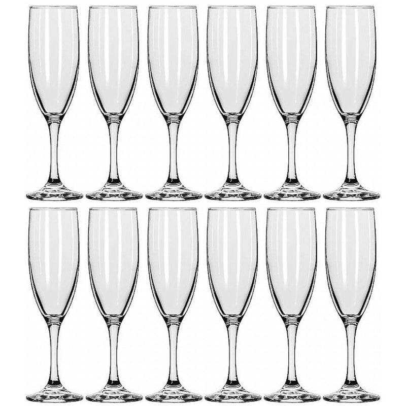 Libbey Embassy Flute Champagne Glass, 6-Ounce, Set of 12 (Pack of 12)
