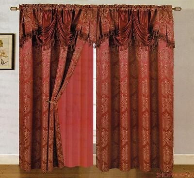 Carmelo Jacquard Panel With Attached Valance And Backing Burgundy - 54x84+18