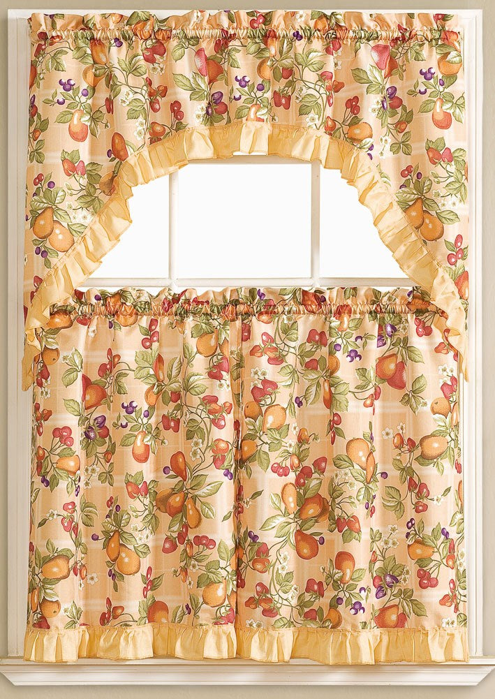 Megan Embroidered 3-piece Kitchen Curtain Swag & Tiers Set, Peach, 60x36 & 30x36