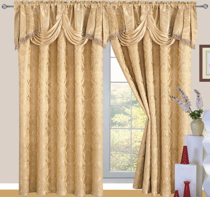 Ronite Jacquard Rod Pocket Panel With Attached Valance And Backing, Gold, 55x84+18