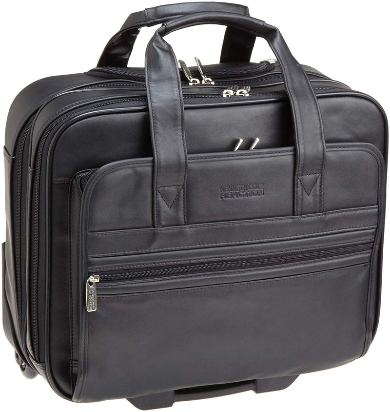 Kenneth Cole Reaction Leather Dual Compartment Wheeled Laptop Portfolio Bag, Black