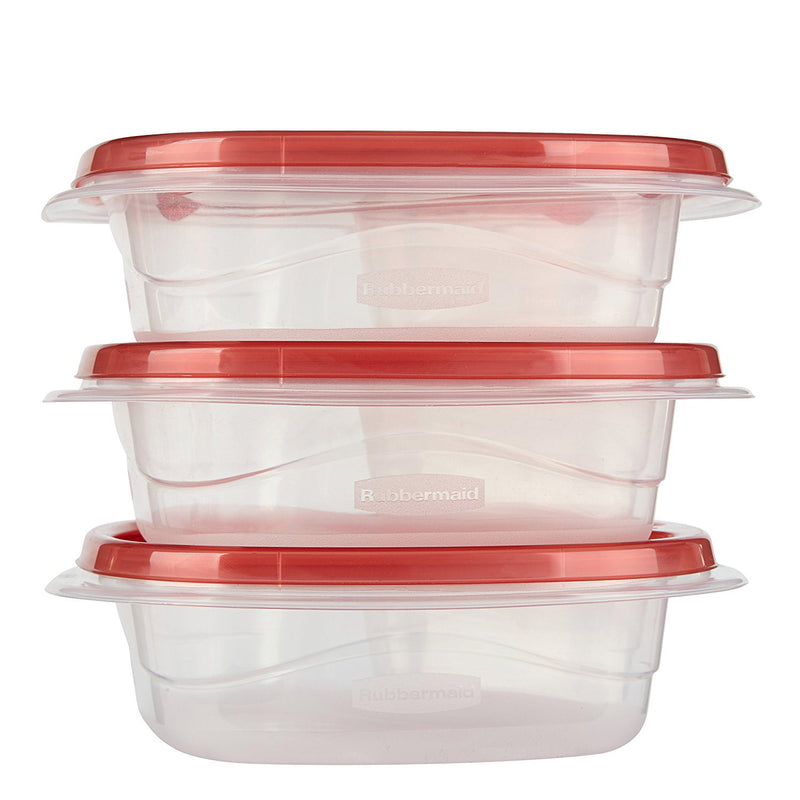 Rubbermaid Take Along Divided Snack Bowls, Chili Red, 2.2 Cup, 3-Count