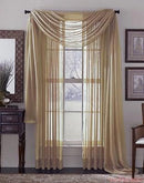 Linda Voile Sheer Solid Window Scarf, Taupe, 55x216