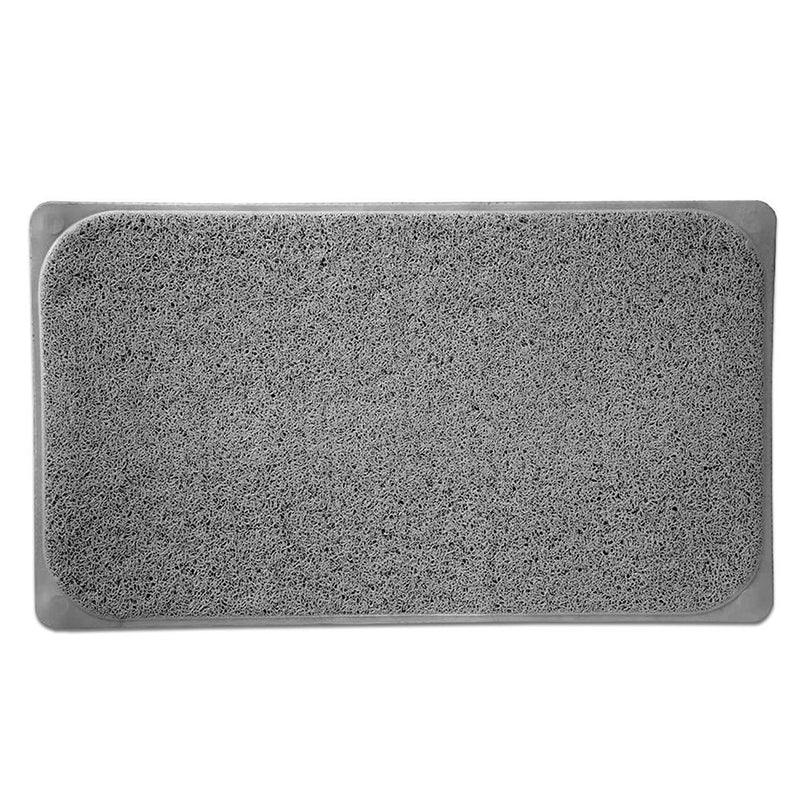 Popular Bath Woven Loofah Bath Mat, Grey, 17.25x29.5 Inches