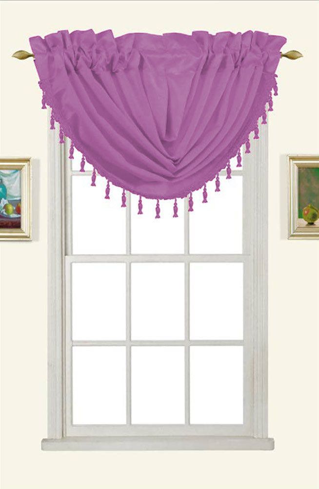 Melanie Faux Silk Rod Pocket Waterfall Valance With Tassels, Lilac, 58x37