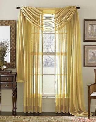 Linda Voile Sheer Solid Window Scarf, Gold, 55x216