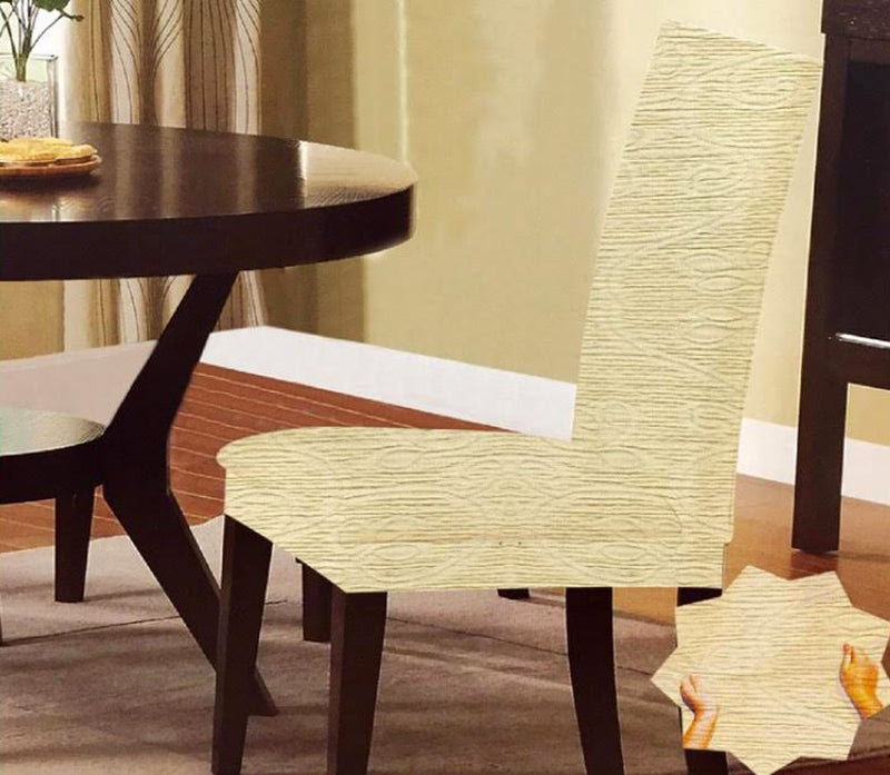 Naomi Stretch Leaf Scroll Design Dining Chair Cover, Ivory