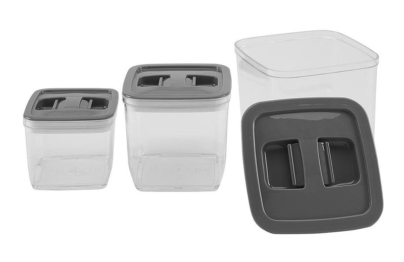 Kitchen Details 3-piece Airtight Storage Canister Set, Gray, Square