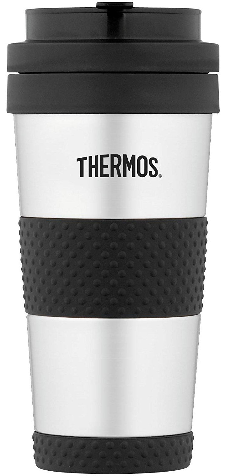 Thermos Vacuum Insulated Stainless Steel Tumbler, Silver-Black, 14 Ounces