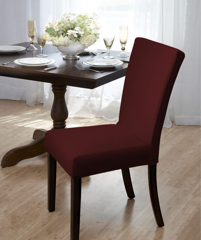 Madison Stretch Bricks Design Dining Room Chair Cover, Burgundy