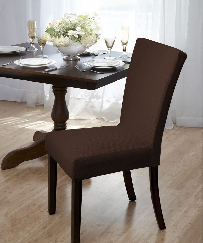 Madison Stretch Bricks Design Dining Room Chair Cover, Brown
