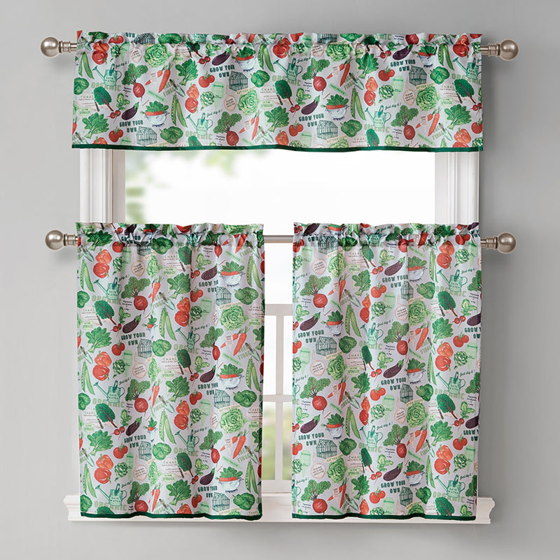 Garden Veggies Printed Kitchen Curtain and Valance Set, Linen, Tiers 28x36, Valance 56x15 Inches