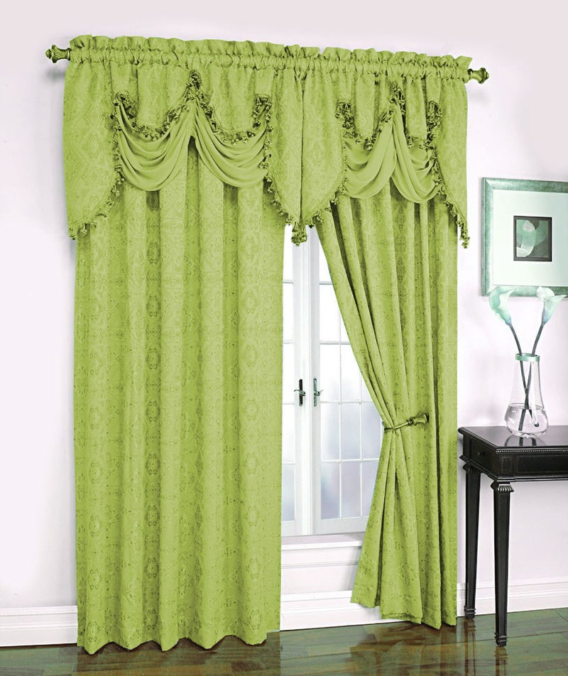 Portofino Jacquard Rod Pocket Panel, Lime Green, 54x84