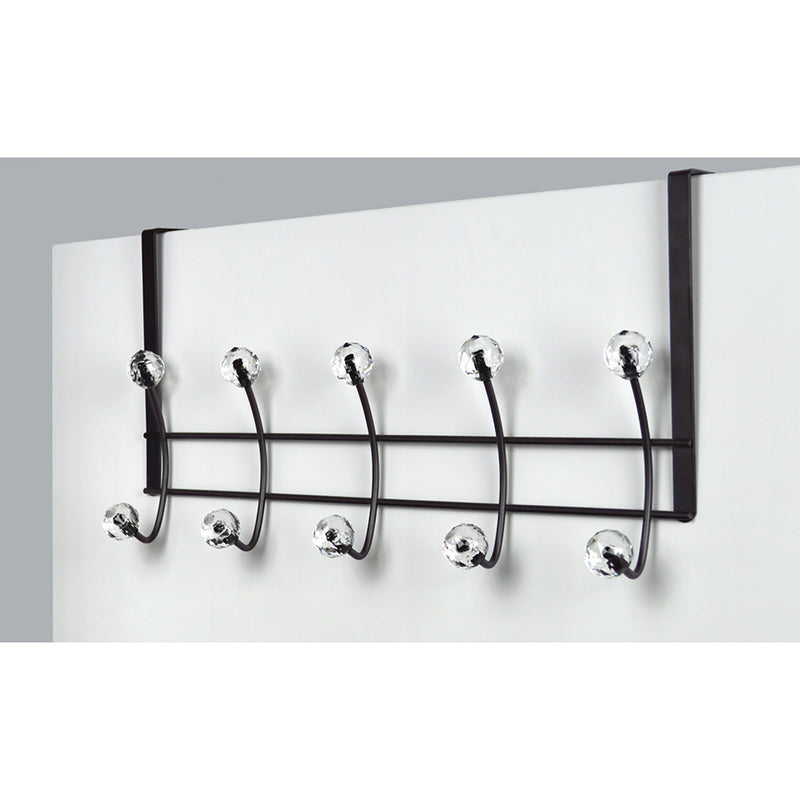 Premius Over the Door Hook Rack With Crystal Tips, Black, 19x4x10 Inches