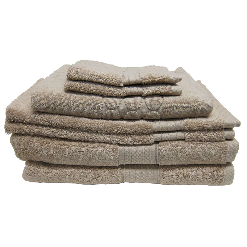 Luxury Living 100% Cotton 7-piece Towel Set, Latte-beige