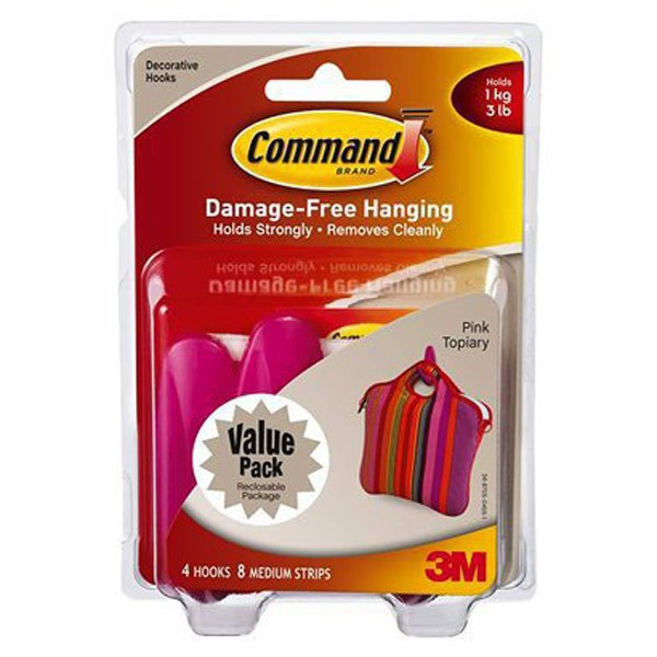 Command 3m Medium Decorative Hanging Hook Pink - 4 Pack