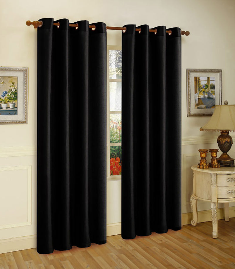 Melanie Faux Silk Grommet Window Panel, Black, 55x63 Inches