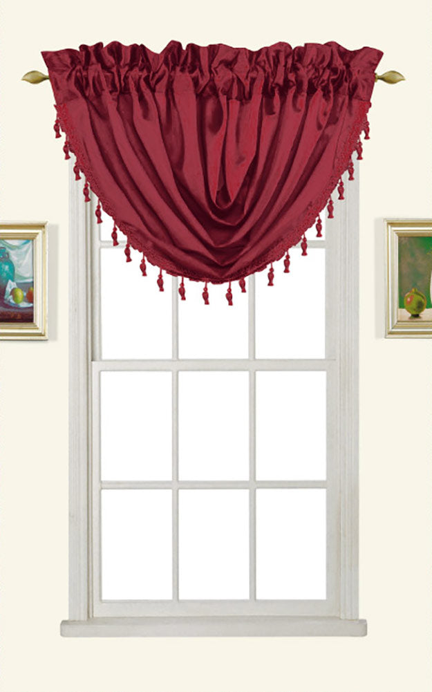 Melanie Faux Silk Rod Pocket Waterfall Valance With Tassels, Burgundy, 58x37