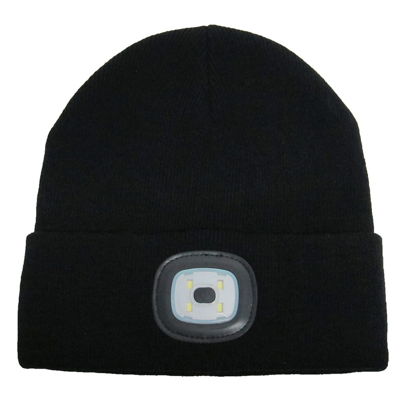 Beamie Hat With Built-in Rechargeable Led Head Lights, Jet Black