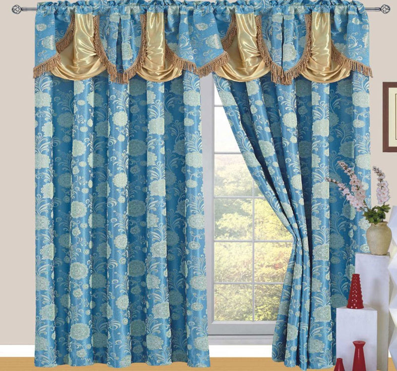 Daniella Jacquard Rod Pocket Panel With Attached Valance And Backing, Blue, 55x84+18