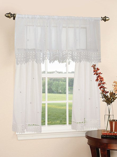 Daisey Sheer Elegant Embroidered 3-piece Kitchen Curtain Valance & Tiers Set White - 60x15 & 30x36