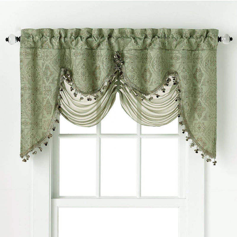 Portofino Jacquard Rod Pocket Valance With Decorative Fringe Sage - 52x28