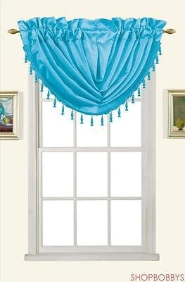 Melanie Faux Silk Rod Pocket Waterfall Valance With Tassels, Aqua, 58x37