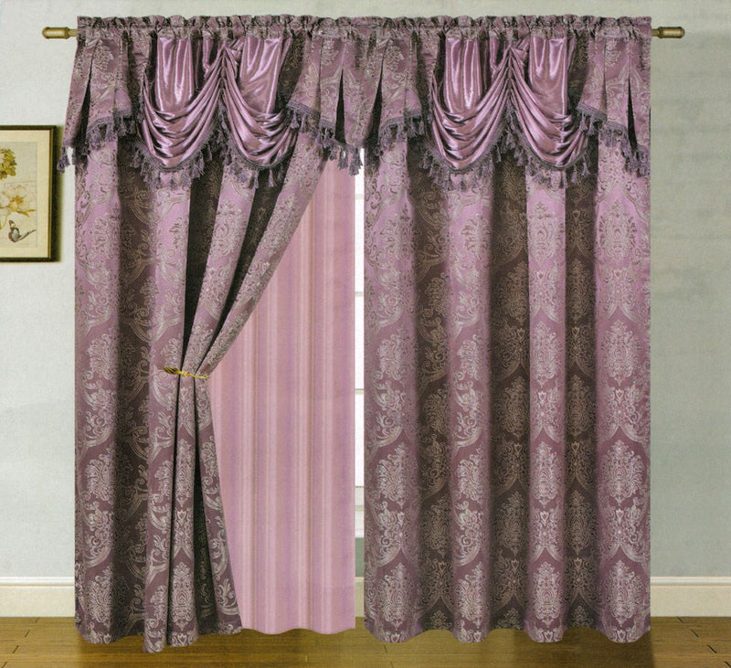 Carmelo Jacquard Panel With Attached Valance And Backing Eggplant - 54x84+18