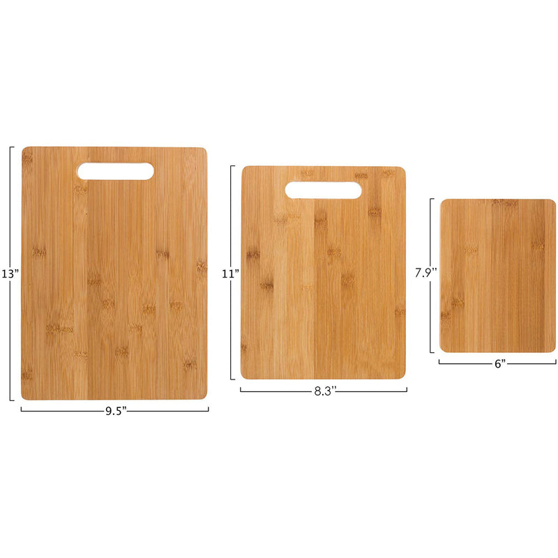 Premius Bamboo 3 Piece Natural Wood Cutting Board Set, Brown