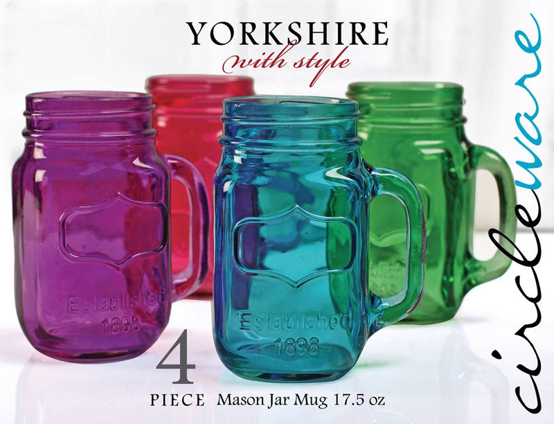 Circleware Yorkshire 4-Piece Colored Mason Jar Mug Set, Multi, 17.5 Ounces