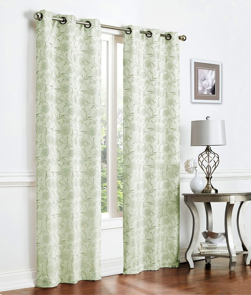 Lancaster Woven Jacquard 2-pack Panel With 8 Grommets, Green, 76x84